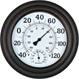 "WiHoo 8"" Indoor Outdoor Thermometer/Hygrometer for Patio, Wall or Decorative (Bronze)"