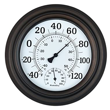 WiHoo 8  Indoor Outdoor Thermometer/Hygrometer for Patio, Wall or Decorative (Bronze)