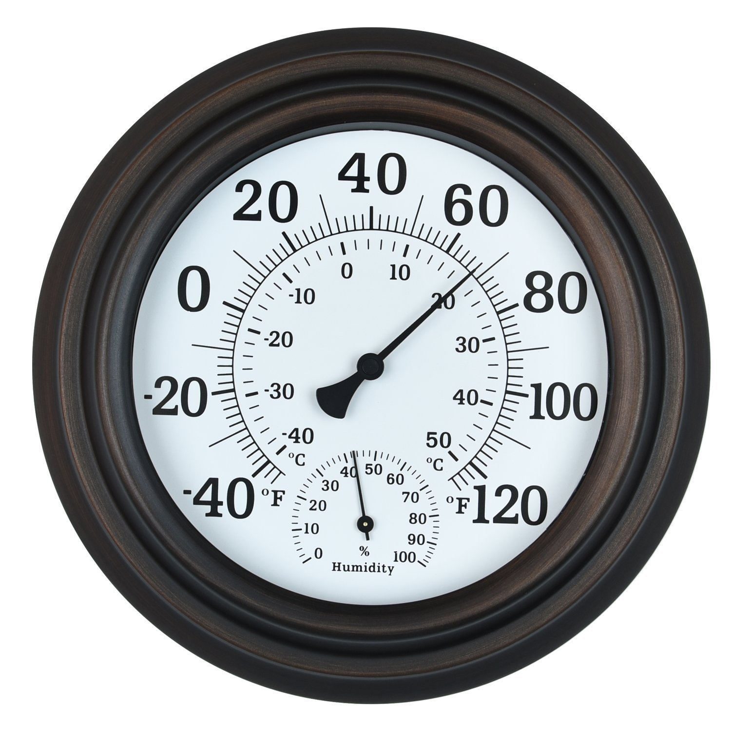 WiHoo 8'' Indoor Outdoor Thermometer/Hygrometer for Patio, Wall or Decorative (Bronze)