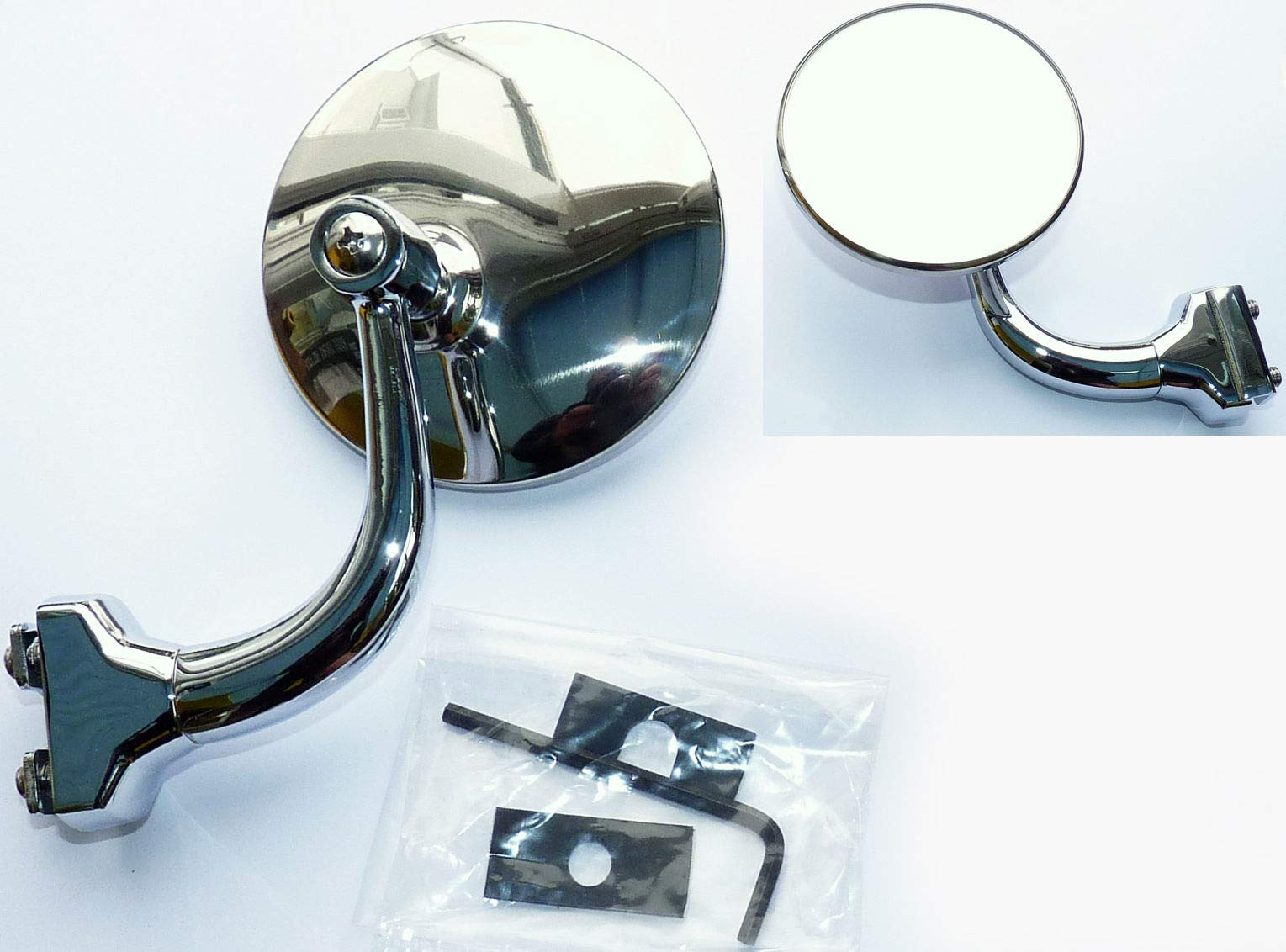 HERCHR Mirror, Quarterlight Clamp-On Classic Car Circular Overtaking for MG Triumph etc,Silver