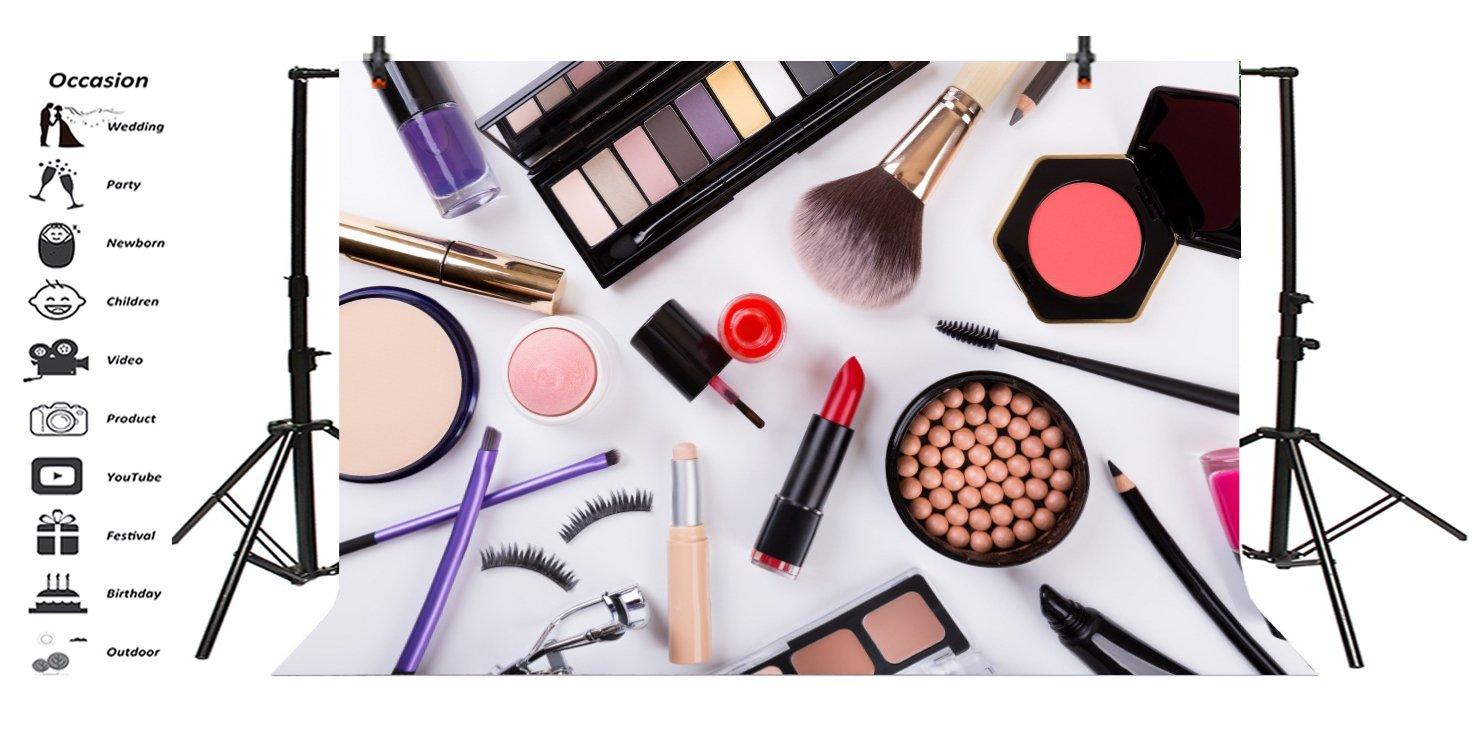 LFEEY 10x8ft Portrait Studio Backdrop Makeup Cosmetics Palette Nail Polish Eyeshadow Brush Lipstick Foundation Powder Beauty Accessory Photography ...
