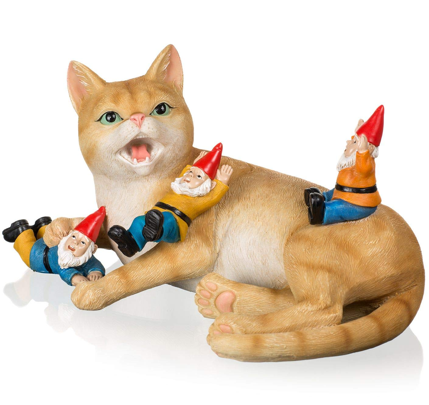 Joykick Cat with Gnomes Statue - 10 x 6.7 Inches Hand Painted Miniature Garden Figurine - Ideal for Indoor and Outdoor Use - Funny Gift for Home or Lawn Decor