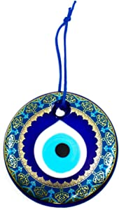 Erbulus Turkish Glass Blue - Turquoise Evil Eye Wall Hanging Gold Pattern Ornament - Home Protection Charm - Wall Decor Amulet