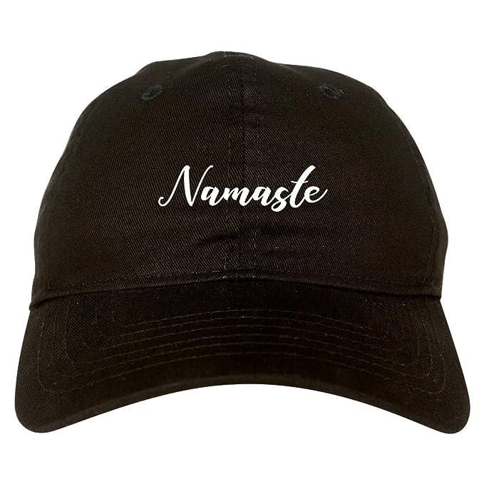 270c64b7bd1 Amazon.com  Namaste Yoga Script Dad Hat Black  Clothing