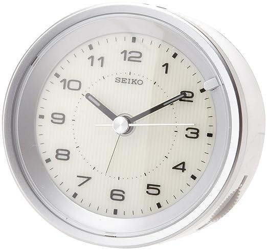 Seiko Reloj despertador de carcasa metálica, color plateado: Amazon.es: Relojes