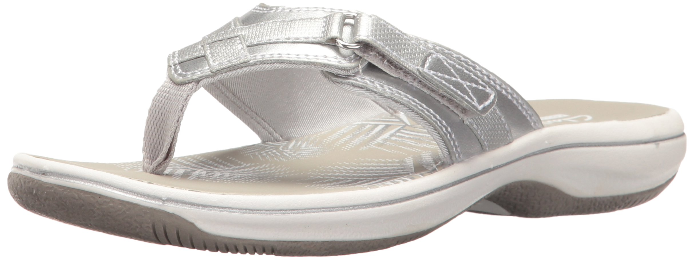 Clarks Women's Breeze Sea Flip Flop, New Silver Synthetic, 8 B(M) US