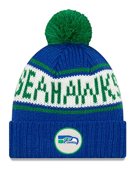 size 40 fac7b f6b32 Image Unavailable. Image not available for. Color  New Era Seattle Seahawks  NFL 9Twenty Historic Retro Patch Cuffed Knit Hat