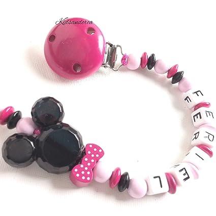 Sujeta chupete con nombre a elección rosa Rose: Amazon.es: Bebé