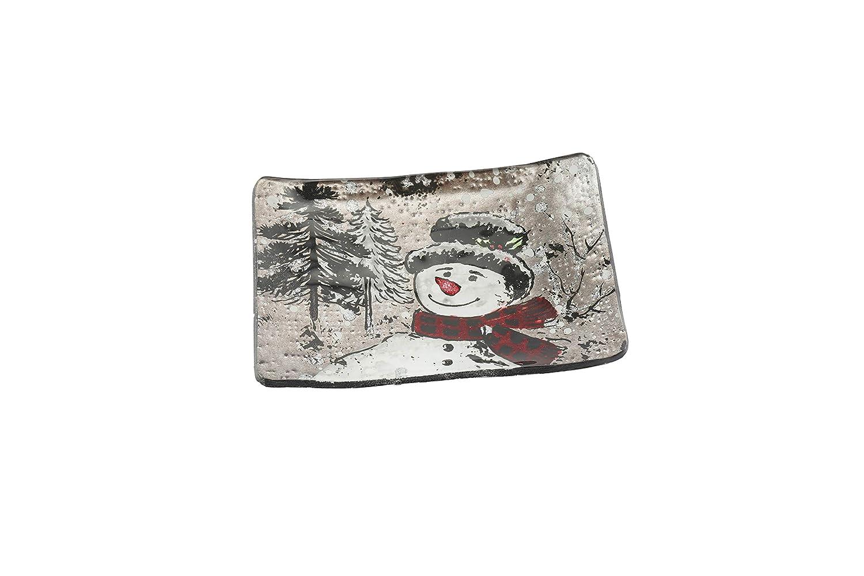 CGB Giftwares Jolly Snowman Plat rectangulaire en Verre Motif Bonhomme de Neige
