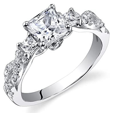 Revoni Sterling Silver Princess Cut Simulated Diamond Engagement