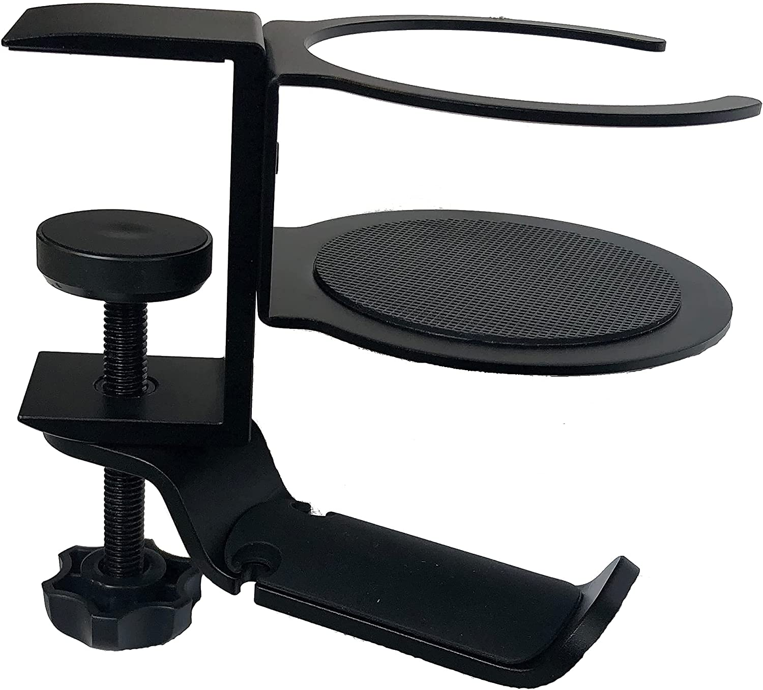 Headset Hanger & Drink Holder 2-in-1 for PC Gaming, Under Computer Desk, Table, Counter - Clamp-On - Multi-Function Black Metal Mounted Cup Stand with Multi-Purpose Contoured Rubber Headphone Padding