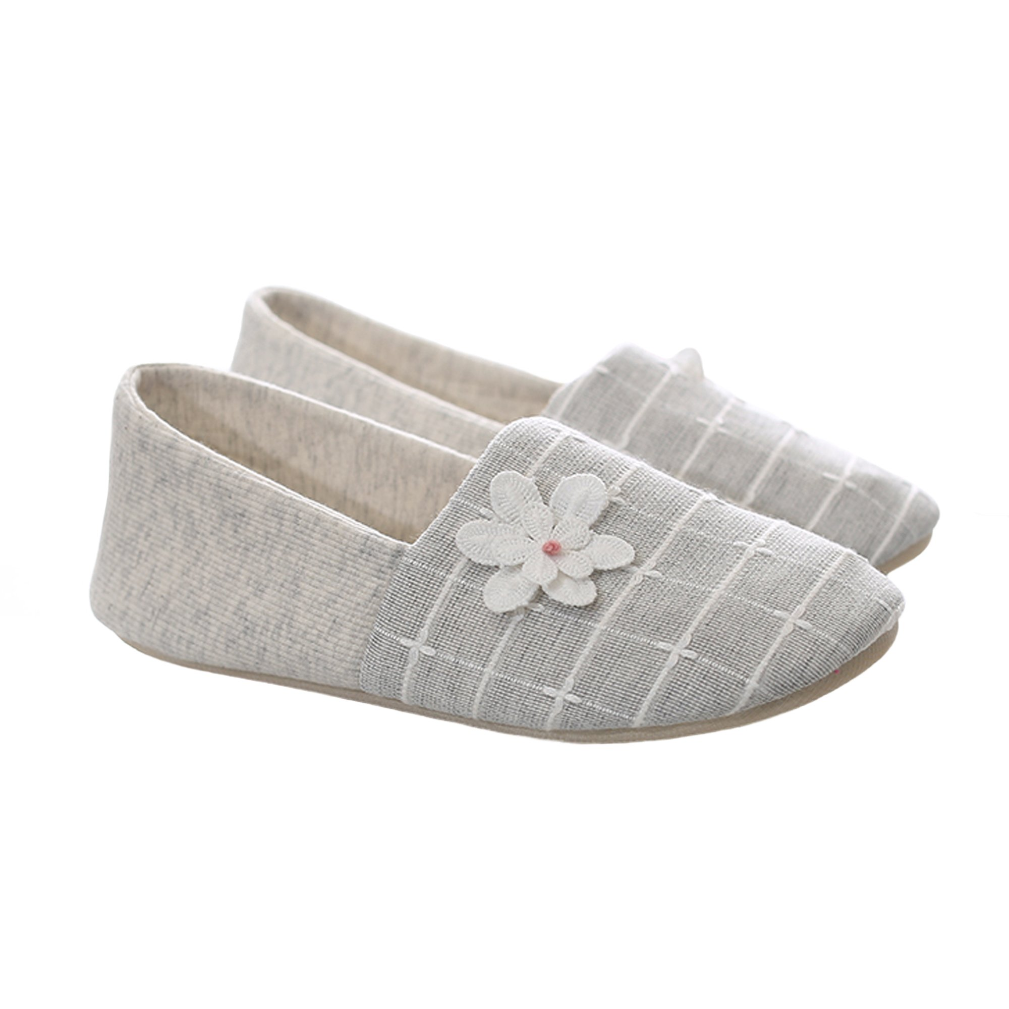 bestfur Beautiful Cozy Breathable Cotton Linen Soft Mute Sole House Slippers Shoes for Women