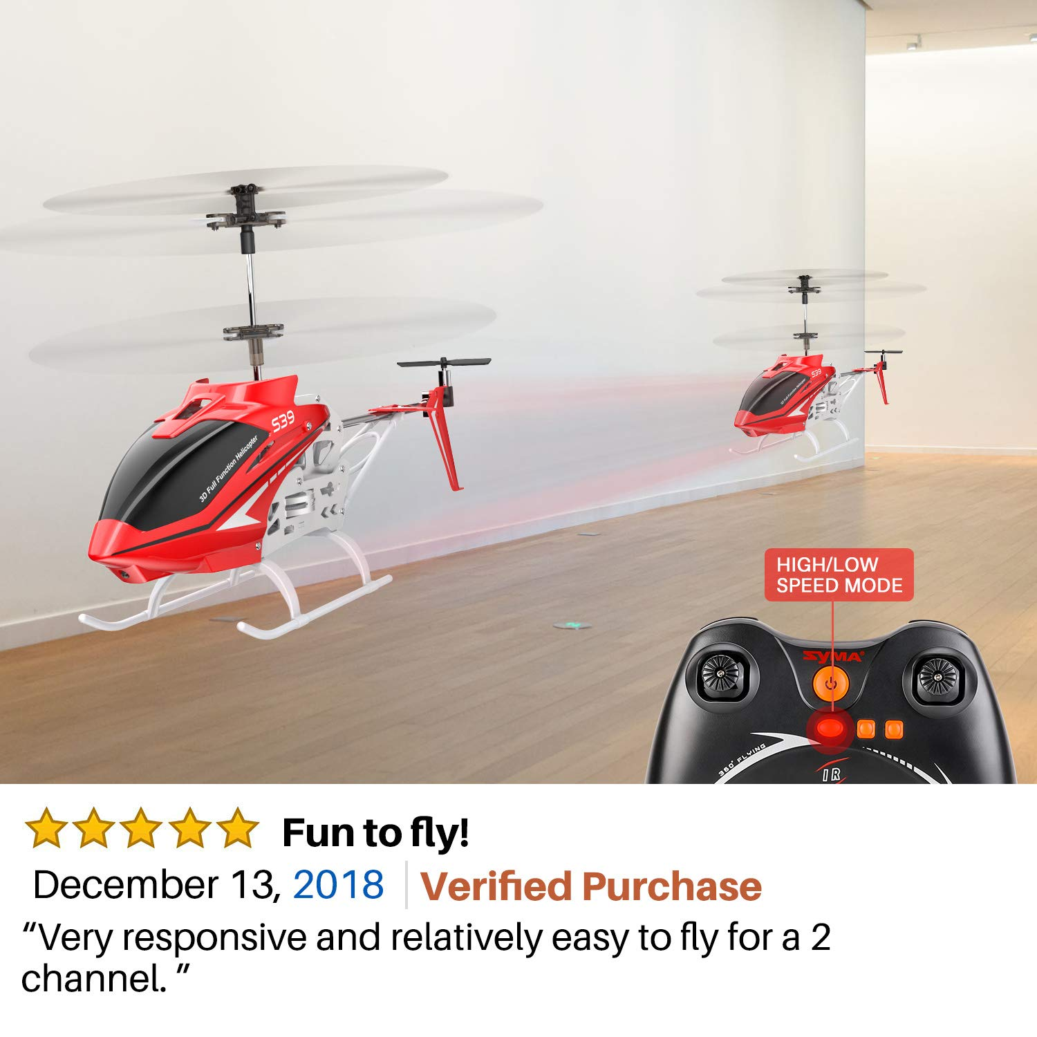 SYMA RC Helicopter, S39 Aircraft with 3.5 Channel,Bigger Size, Sturdy Alloy Material, Gyro Stabilizer and High &Low Speed, Multi-Protection Drone for Kids and Beginners to Play Indoor-Red by SYMA (Image #6)