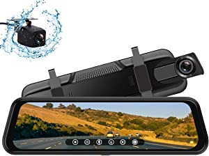 Backup Camera, 10Inch 1080P HD Mirror Dash Camera, Rear View Front and Rear Dual Lens with Loop Record, G-Sensor, 1080P Waterproof Reversing Assistance Camera, Parking Monitor, Night Vision [GRC]
