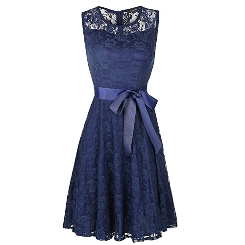 NALATI Women Sleeveless Round Neck Floral Lace Dress with Belt,Chiffon Pleated Cocktail Party Lace