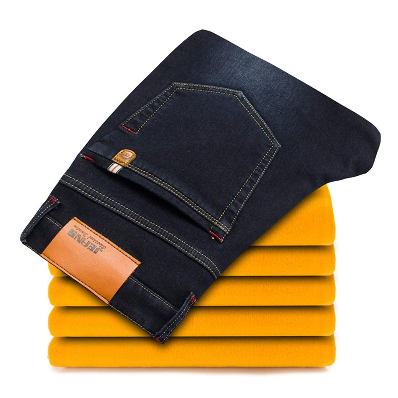 When Love-mans pants Winter Warm Jeans Business Casual Elasticity Thick Slim Trousers Black Plus Size,138 Blue,30