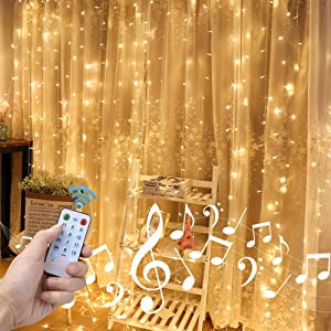 Auelife 300 Led Curtain String Lights USB with Sound Activated Remote for Bedroom Wedding Party (Warm White)