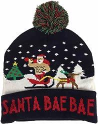 cf7b99c1e4ee5 Mens Light Up Navy Blue Santa Bae Bae Beanie Christmas Holiday Stocking Cap  Hat