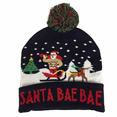 4e27a69651f41a Image Unavailable. Image not available for. Color: Mens Light Up Navy Blue  Santa Bae Bae Beanie Christmas Holiday Stocking Cap Hat