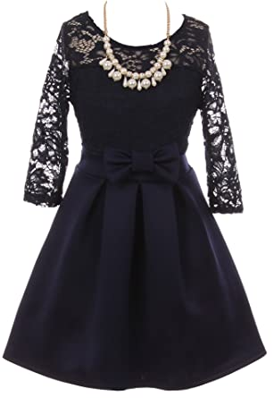 b46c2d9b4 Little Girl Floral Lace Top Bow Flower Holiday Party Flower Girl Dress USA  Navy 4 JKS