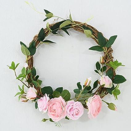Amazon summer spring artificial wreathswreaths for front door summer spring artificial wreathswreaths for front door flower wreathwedding pink wreath mightylinksfo