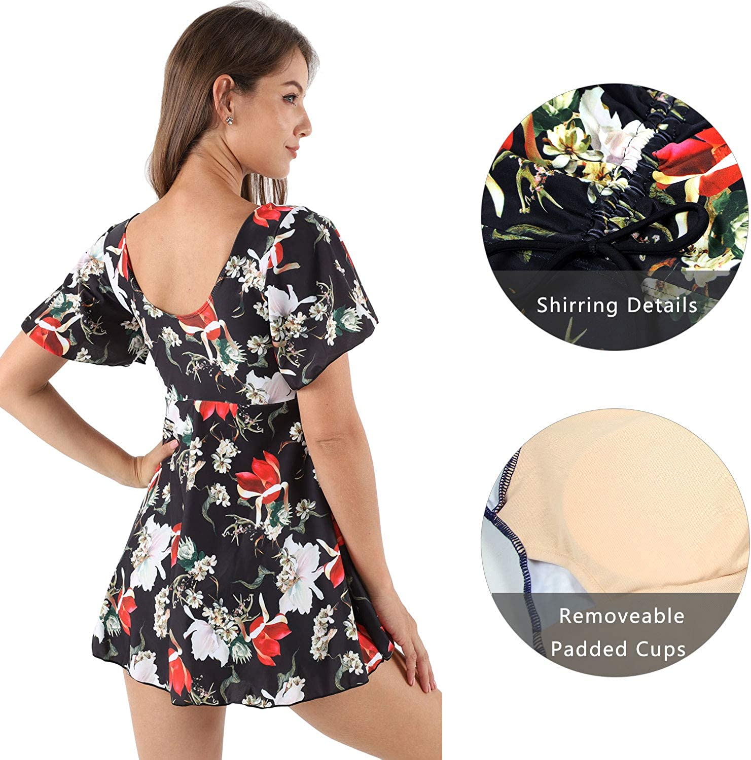 Ecupper Womens One Piece Short Sleeve Swim Dress Floral Printed Swimsuit with Boyshorts
