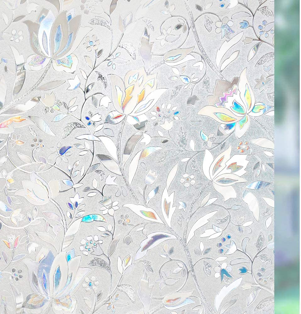 rabbitgoo 3D Vinilo para Ventanas Translucido Privacidad Vinilo Cristal Pegatina Sin Pegamento Adherencia Electrostática Anti UV Decorativos para Puertas Cristal Cocina Baño Oficina Salón 90x200CM