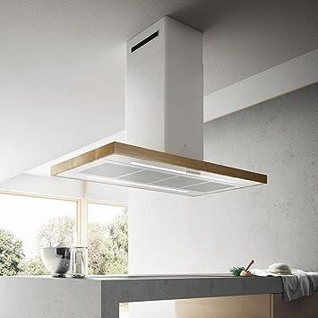 Campana Cocina Elica en islote Bio Island madera y metal blanco 120 cm: Amazon.es: Bricolaje y herramientas