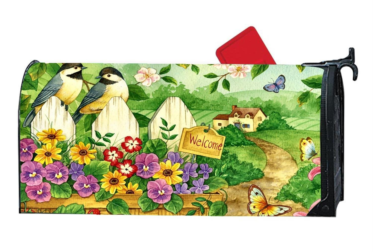 Welcome Butterflies Chickadee Garden Custom Magnetic Mailbox Cover Mail Wrap Vinyl for Standard Mailboxes Size 6.5'' x 19''