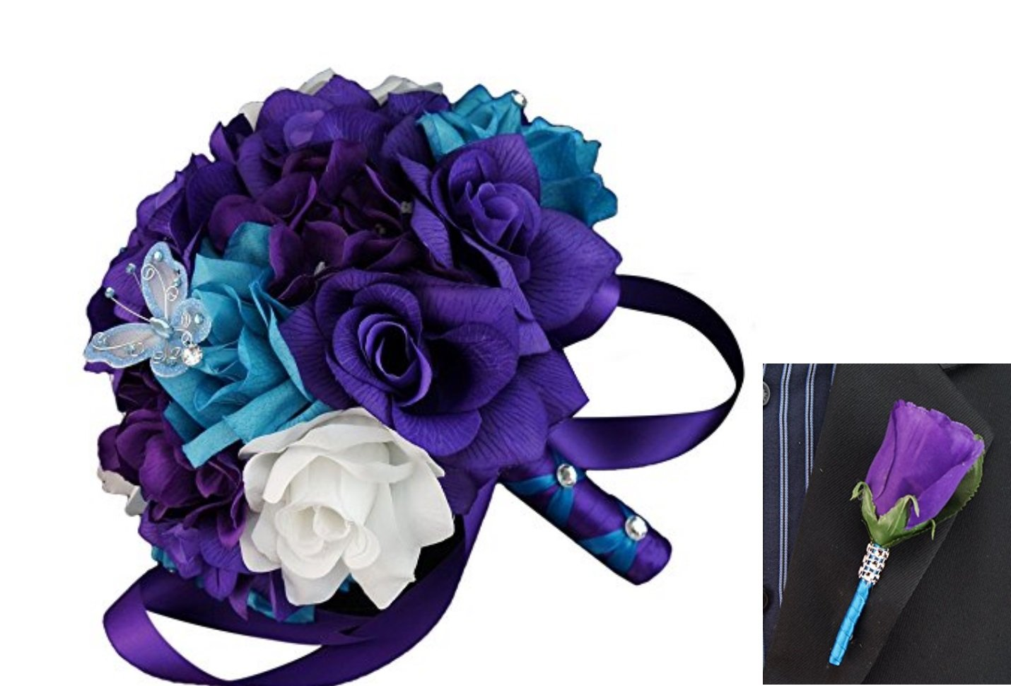 2pc-Set-Bouquet-and-Rose-Boutonniere-Turquoise-White-Purple-with-Silver-Accents