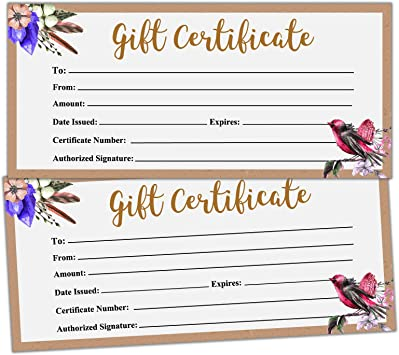 DL Envelope Size High Quality Card 12 x Blank Gift Certificates Vouchers