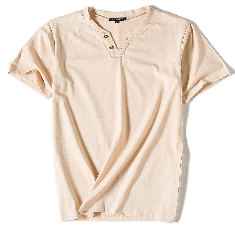 BISHUIGE Men's 100% Cotton Henley Shirt Short Sleeve Summer Tee Beige XX-Large