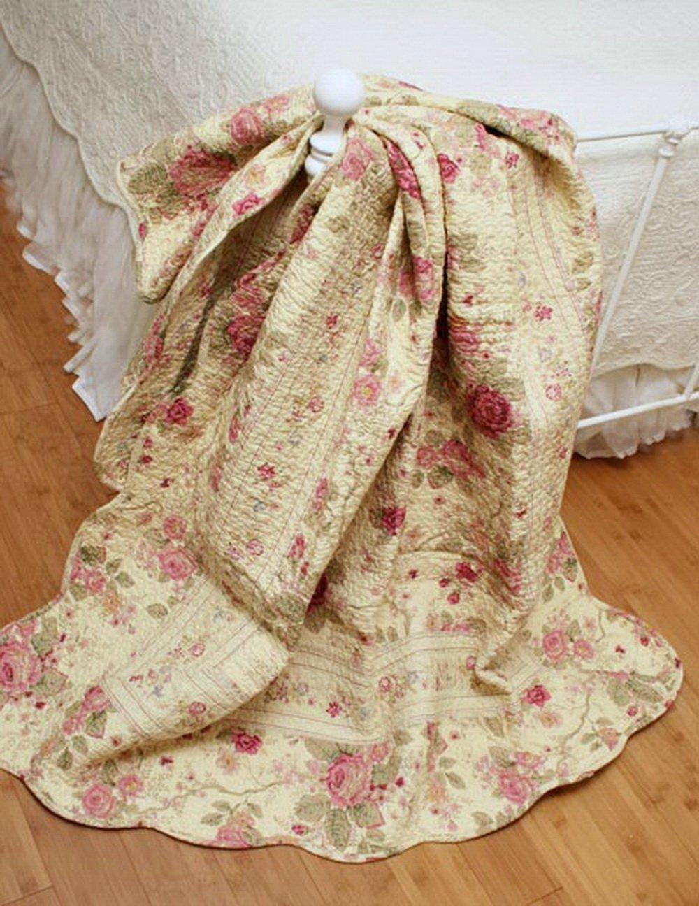 コッテージロマンチックキルトセット シャム付き フローラルローズ柄 クリームイエロー ラグジュアリー100%コットン リバーシブル寝具 - ベッドシートストラップ付き Throw Blanket B01MXTT7SB  Throw Blanket