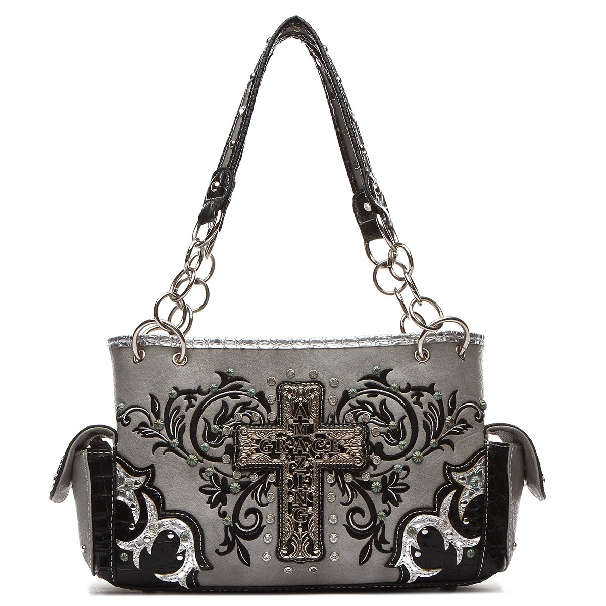 Western Handbag - Metal Amazing Grace Cross and Embroidered Religious Satchel …