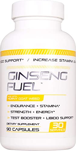 Ginseng Fuel – Test Boost Advanced Dietary Supplement – Male Enhancement Formula – Powerful Stamina, Strength, Energy Endurance Supplement – Supports Healthy Test Training Natural T Levels 90 Caps