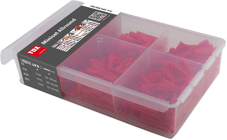 094900051 TOX Miniset Clever Mix Allzweckd/übel-Sortiment f/ür Fast alle Baustoffe 215 tlg.