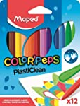 Giz de Plástico Color Peps Estojo 12 Cores, Maped 22, Multicor