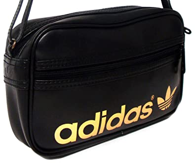 New Unisex Adidas Originals Black And Gold Mini Flight Bag - Black Gold - UK 78077018d9496