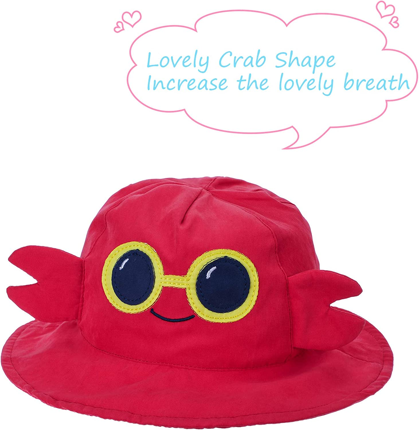 Kids Bucket Hat Sun Protection Hat Cute Patterned Cap Wide Brim Cotton Hat for Toddler Boys Girls Summer Wearing