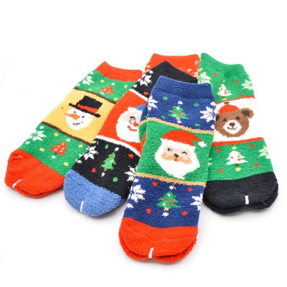 Christmas Printing Coral Fleece Socks,Comfortable Casual Work Business Colorful Socks Medium Sports Coral Velvet Socks