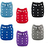 ALVABABY 6pcs Pocket Cloth Diapers with 2 Inserts Each,Adjustable Washable Reusable (Boy Color)6BM99
