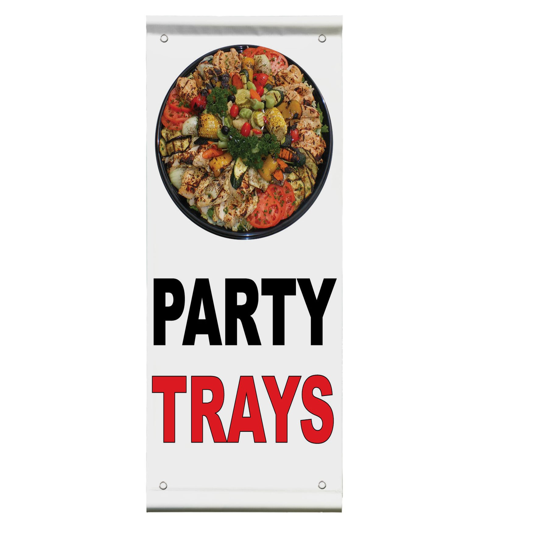 Party Trays Black Red Bar Restaurant Double Sided Pole Banner Sign 36 in x 48 in w/ Wall Bracket