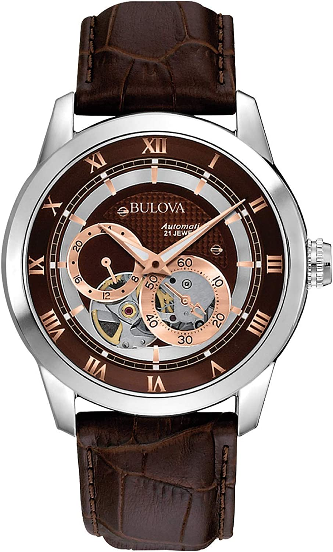 Amazon.com: Bulova Men's Brown 96A120 BVA Series Dual Aperture Dial Watch:  Bulova: Watches