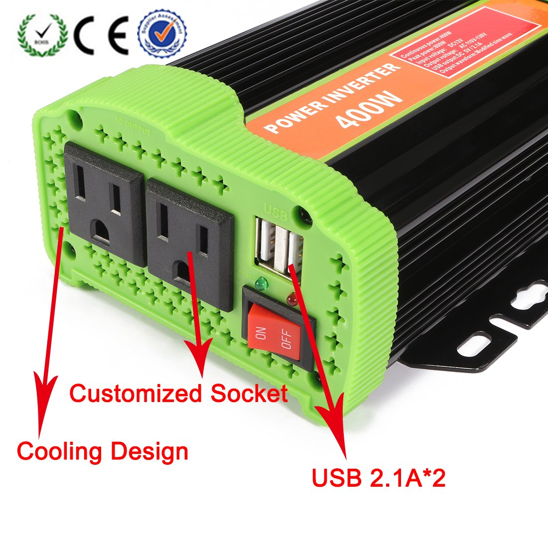 uxcell 400W Car Power Inverter DC 12V to 110V AC Inverter w 2.1A Dual USB Car Charger Charging Ports