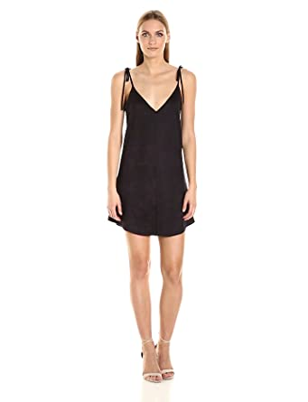 David Lerner Women's Micro Suede Slip Dress, Classic Black, XS
