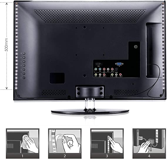 albrillo LED TV Fondo 4 × 50 cm Tira, RGB con Mando a distancia y usb Powered para televisor de 40 a 60: Amazon.es: Iluminación