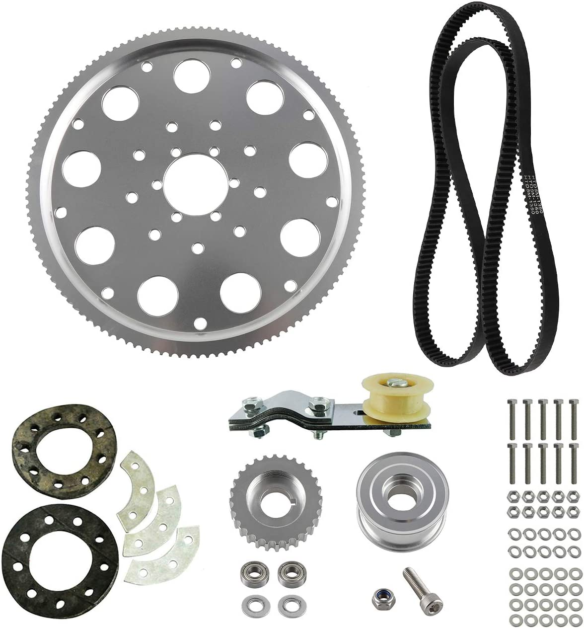 UAUS Belt Drive Sprocket Kit Chain Tension No More 415 Chain For 66cc 80cc 2 Stroke Gas Engine Motorized Bike