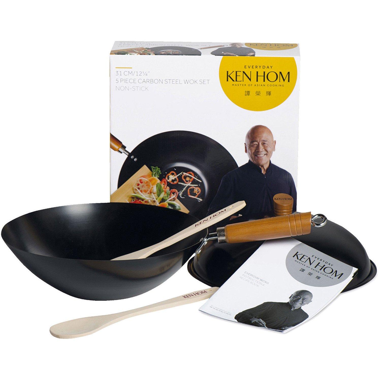 Ken Hom Everyday Range, Non-stick Wok Set With Lid, 31cm Diameter - Carbon