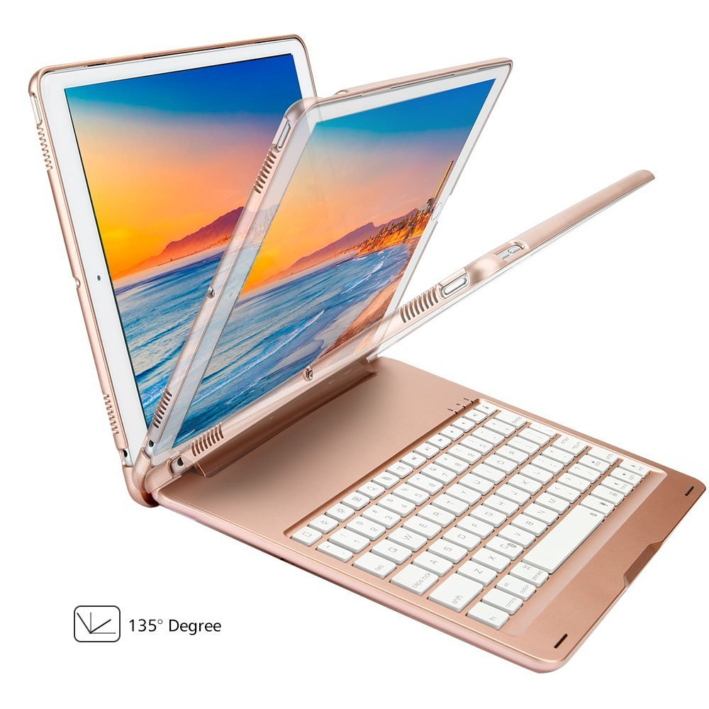 New iPad pro 10.5 Case with Keyboard,KIWETASO Ultra Slim 7 Colors Backlit aluminium Clamshell Keyboard Smart Protective Case and Cover for Apple iPad 10.5 inch 2017 Model(Rose Gold) by KIWETASO