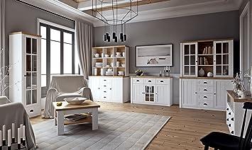 Wohnzimmer Komplett   Set A Segnas, 8 Teilig, Farbe: Kiefer Weiß/